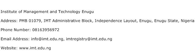 Institute of Management and Technology Enugu Address Contact Number