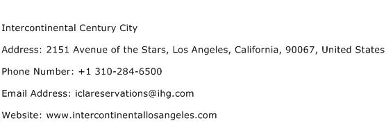Intercontinental Century City Address Contact Number
