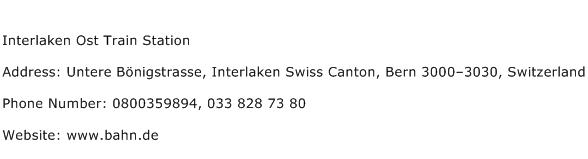 Interlaken Ost Train Station Address Contact Number