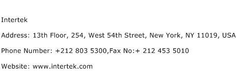 Intertek Address Contact Number