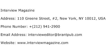 Interview Magazine Address Contact Number