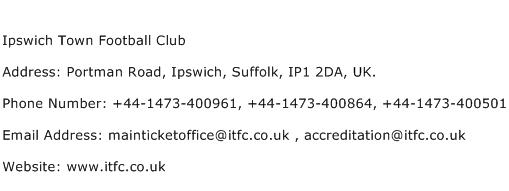 Ipswich Town Football Club Address Contact Number