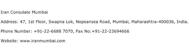 Iran Consulate Mumbai Address Contact Number