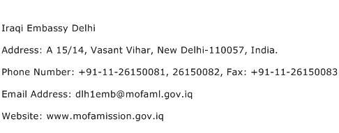 Iraqi Embassy Delhi Address Contact Number