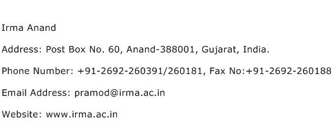 Irma Anand Address Contact Number