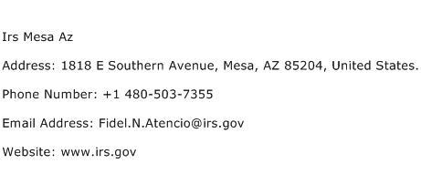 Irs Mesa Az Address Contact Number