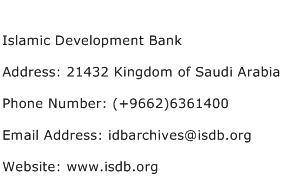 Islamic Development Bank Address Contact Number