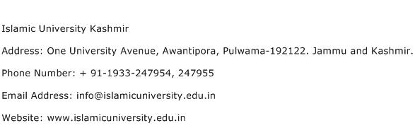 Islamic University Kashmir Address Contact Number