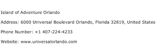 Island of Adventure Orlando Address Contact Number