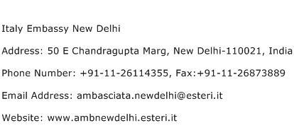 Italy Embassy New Delhi Address Contact Number