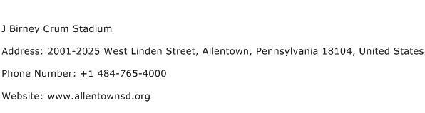 J Birney Crum Stadium Address Contact Number