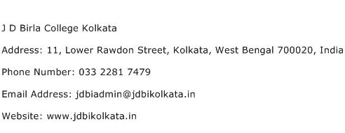 J D Birla College Kolkata Address Contact Number