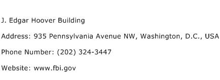 J. Edgar Hoover Building Address Contact Number