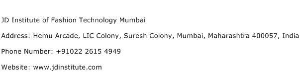 JD Institute of Fashion Technology Mumbai Address Contact Number