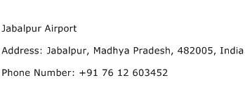 Jabalpur Airport Address Contact Number