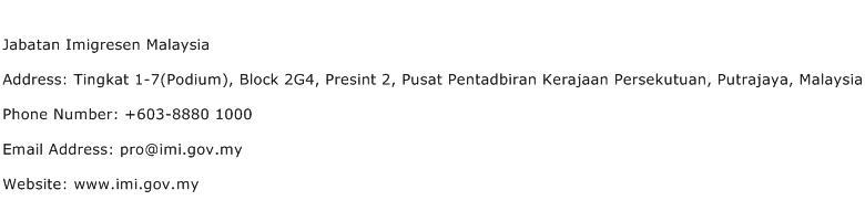 Jabatan Imigresen Malaysia Address Contact Number