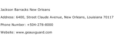 Jackson Barracks New Orleans Address Contact Number