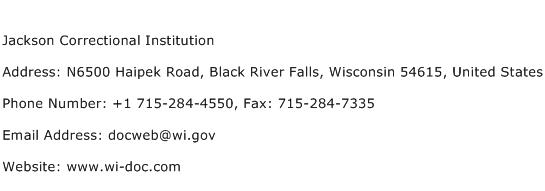 Jackson Correctional Institution Address Contact Number