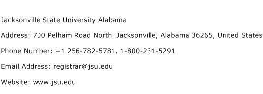 Jacksonville State University Alabama Address Contact Number
