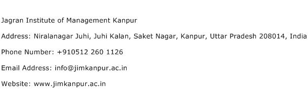 Jagran Institute of Management Kanpur Address Contact Number