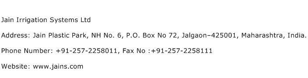 Jain Irrigation Systems Ltd Address Contact Number