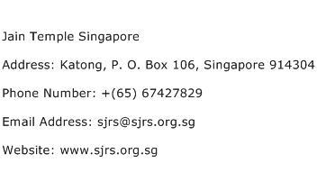 Jain Temple Singapore Address Contact Number