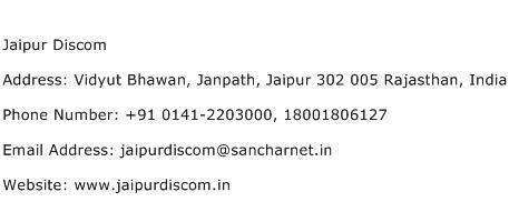 Jaipur Discom Address Contact Number