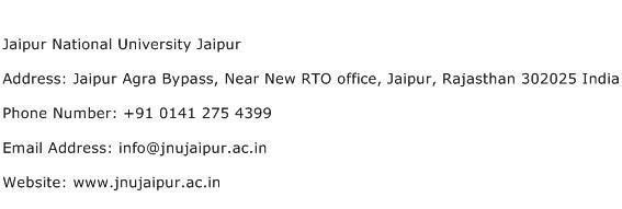 Jaipur National University Jaipur Address Contact Number