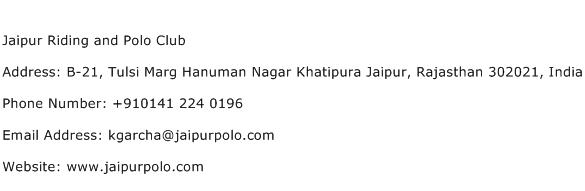 Jaipur Riding and Polo Club Address Contact Number