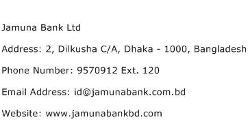 Jamuna Bank Ltd Address Contact Number