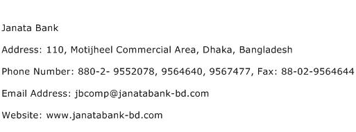 Janata Bank Address Contact Number