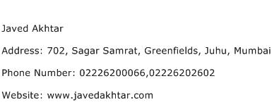Javed Akhtar Address Contact Number
