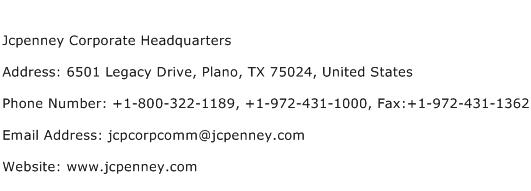 Jcpenney Corporate Headquarters Address Contact Number