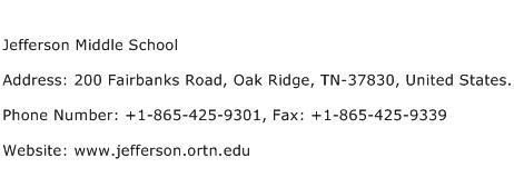 Jefferson Middle School Address Contact Number