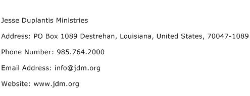 Jesse Duplantis Ministries Address Contact Number