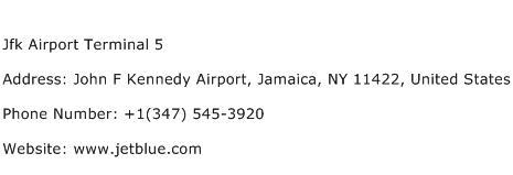 Jfk Airport Terminal 5 Address Contact Number