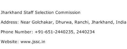 Jharkhand Staff Selection Commission Address Contact Number