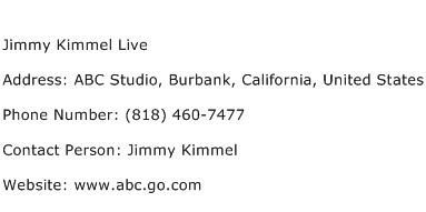 Jimmy Kimmel Live Address Contact Number