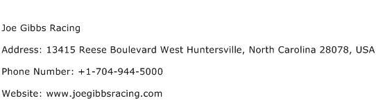 Joe Gibbs Racing Address Contact Number