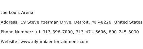 Joe Louis Arena Address Contact Number