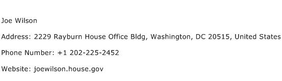Joe Wilson Address Contact Number