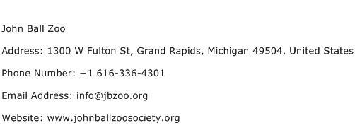 John Ball Zoo Address Contact Number