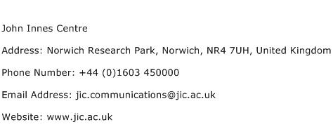 John Innes Centre Address Contact Number