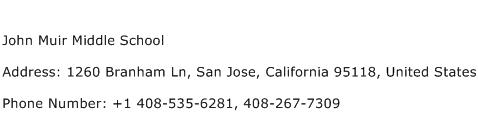 John Muir Middle School Address Contact Number