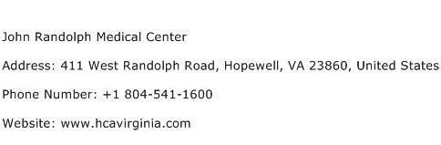 John Randolph Medical Center Address Contact Number