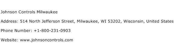 Johnson Controls Milwaukee Address Contact Number