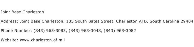 Joint Base Charleston Address Contact Number