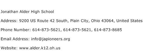 Jonathan Alder High School Address Contact Number