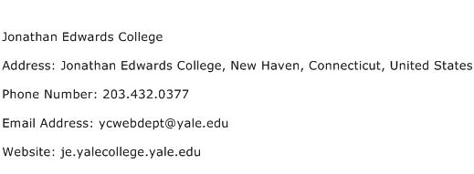 Jonathan Edwards College Address Contact Number