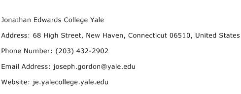 Jonathan Edwards College Yale Address Contact Number
